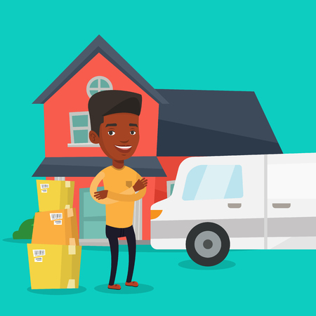 unpacking: Man moving to house vector illustration.