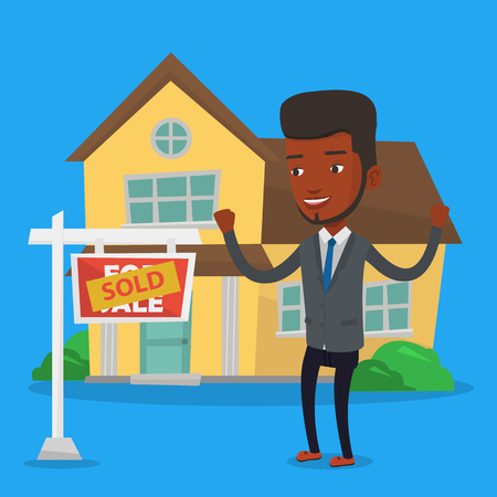 Real estate agent signing contract. Illustration