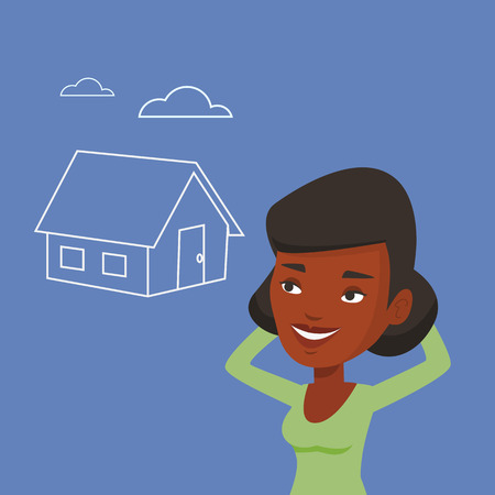 house for sale: Woman dreaming about buying new house. Illustration
