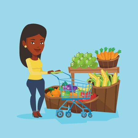 Customer with shopping cart vector illustration. Illustration