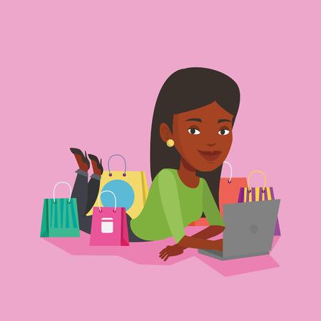 Woman shopping online vector illustration.