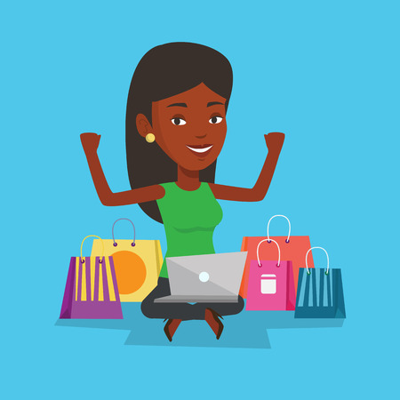online purchase: Woman shopping online vector illustration.