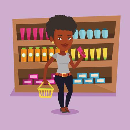 mujer en el supermercado: Customer with shopping basket and tube of cream.