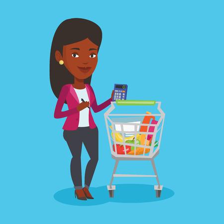 mujer en el supermercado: Mujer cliente con la calculadora.