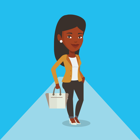 Woman posing on catwalk during fashion show. Illustration