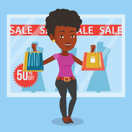 Vrouw winkelen op verkoop vector illustratie.