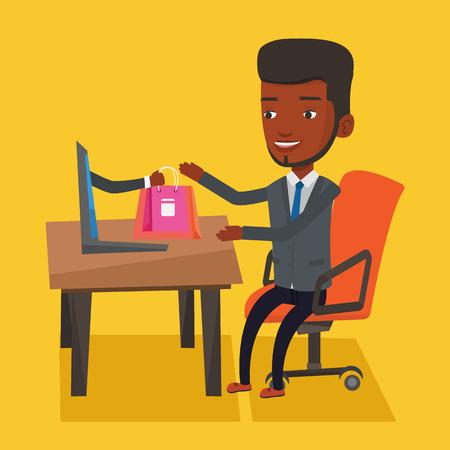 Man shopping online vector illustration. Illustration