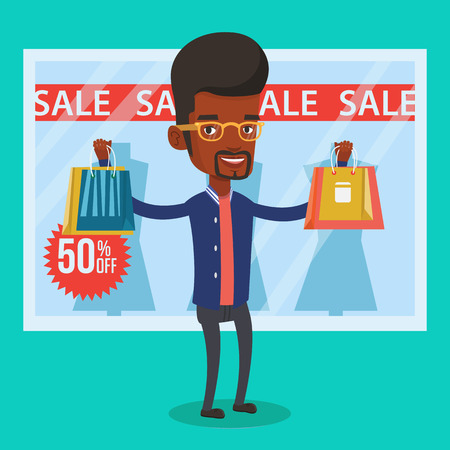 Man winkelen op verkoop vector illustratie. Stock Illustratie