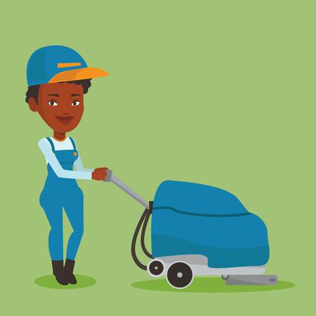 mujer en el supermercado: Mujer trabajador limpieza piso de la tienda con la máquina. Vectores