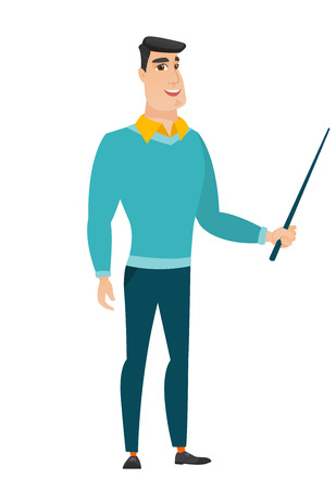 Caucasian business man holding pointer stick.