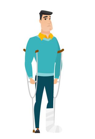 Injured businessman with broken leg. Vector Illustration