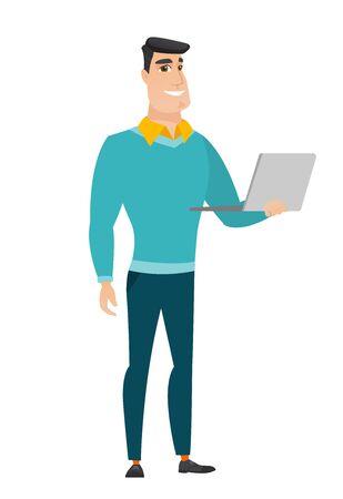 using laptop: Business man using laptop vector illustration.