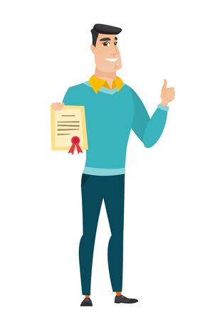 qualification: Young caucasian businessman holding a certificate. Illustration