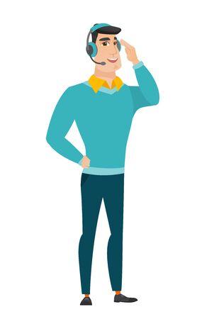 operador del servicio de atención al cliente en el auricular. Ilustración de vector