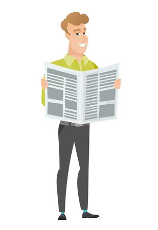 Business man reading newspaper vector illustration Illustration