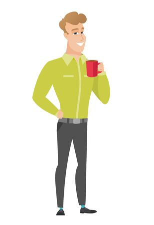 Young caucasian businessman holding cup of coffee. Illustration