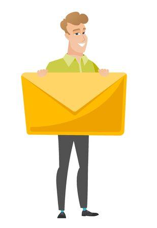 Smiling Geschäftsmann mit einem großen Umschlag zu halten. Vektorgrafik