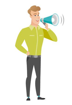 proclaim: Caucasian businessman talking into loudspeaker.
