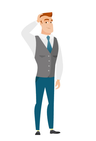 Young caucasian businessman scratching his head. Illustration