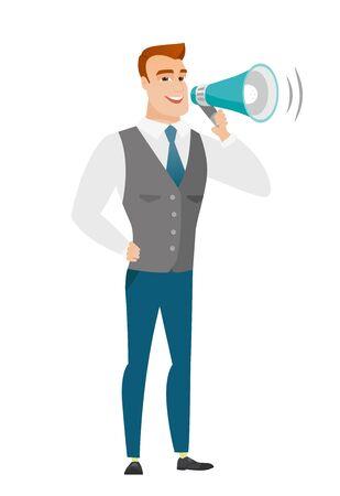 Caucasian businessman talking into loudspeaker.