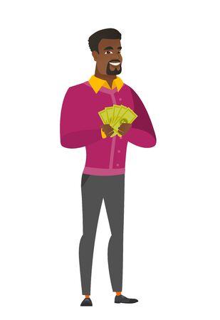 African-american businessman holding money. Illusztráció