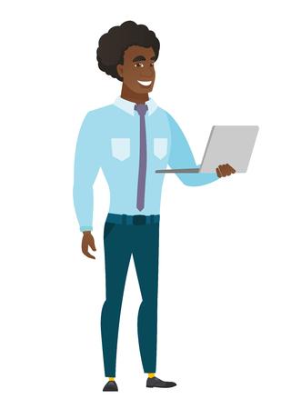 using laptop: Business man using laptop illustration.
