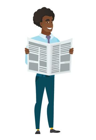 Business man reading newspaper illustration Illustration