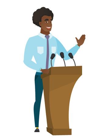 Politician giving a speech from tribune.