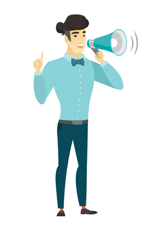 Young asian businessman making announcement . Illustration