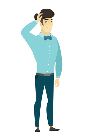 thoughtful: Young asian businessman scratching his head. Illustration