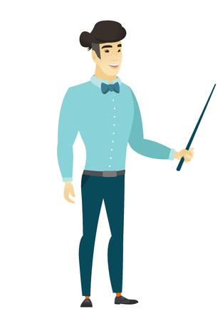 asian business: Asian business man holding pointer stick.