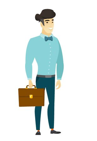 asian business: Asian business man holding briefcase. Illustration