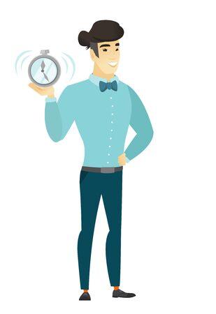 asian business: Asian business man holding alarm clock.