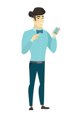 asian business: Asian business man holding a mobile phone.