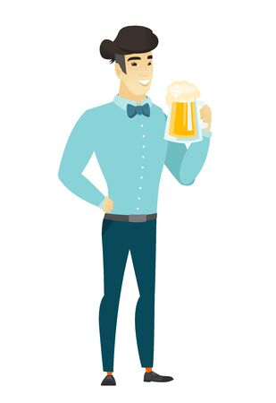 Businessman drinking beer illustration. Illustration