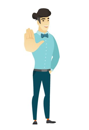 asian business: Asian business man showing palm hand. Illustration