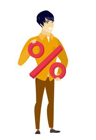 Smiling businessman holding percent sign. Illustration