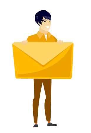 post man: Smiling businessman holding a big envelope.