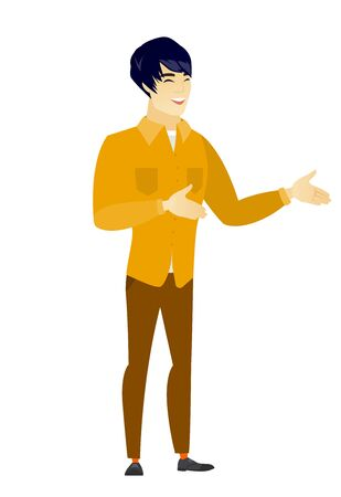 Young asian happy businessman gesturing. Illustration
