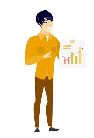 Asian business man showing financial chart.