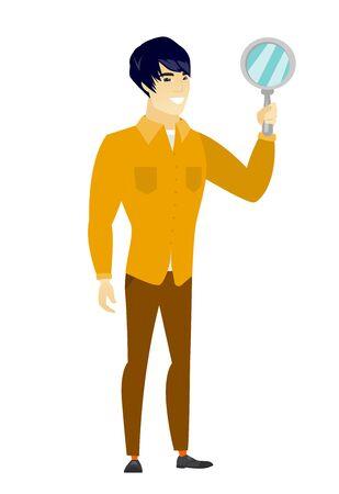 asian business: Asian business man holding hand mirror.