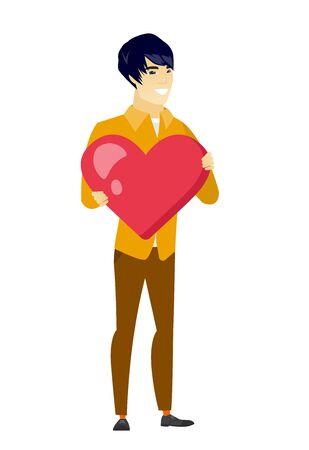 asian business: Asian business man holding a big red heart.