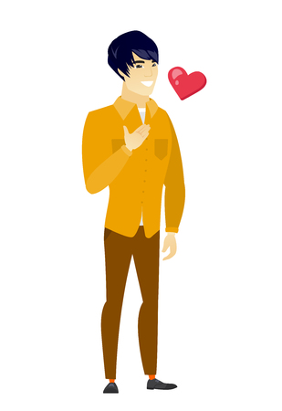 asian business: Asian business man holding hand on his chest. Illustration