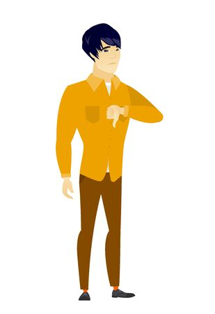 Disappointed asian businessman with thumb down Illustration