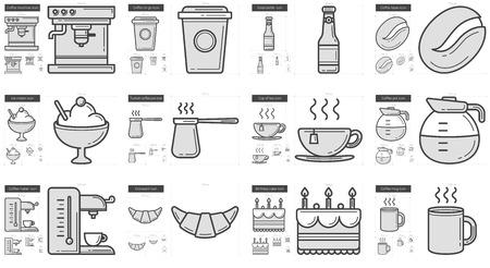 ice tea: Junk food line icon set.