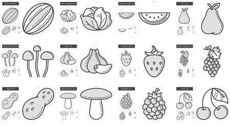 Healthy food line icon set. Ilustração