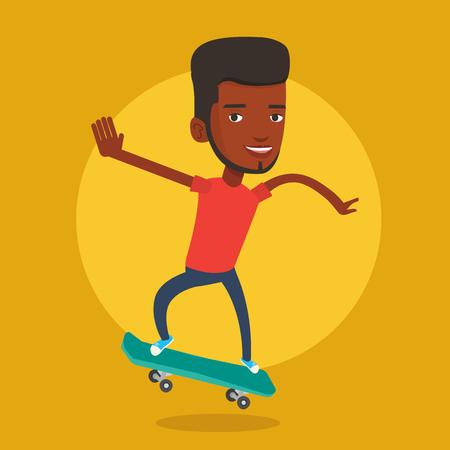 Man riding skateboard vector illustration. Ilustração