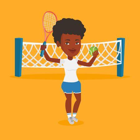 Female tennis player vector illustration.
