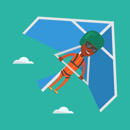 Man flying on hang-glider vector illustration.