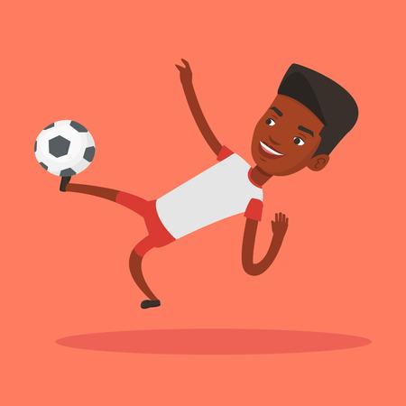 young black man: Soccer player kicking ball vector illustration.